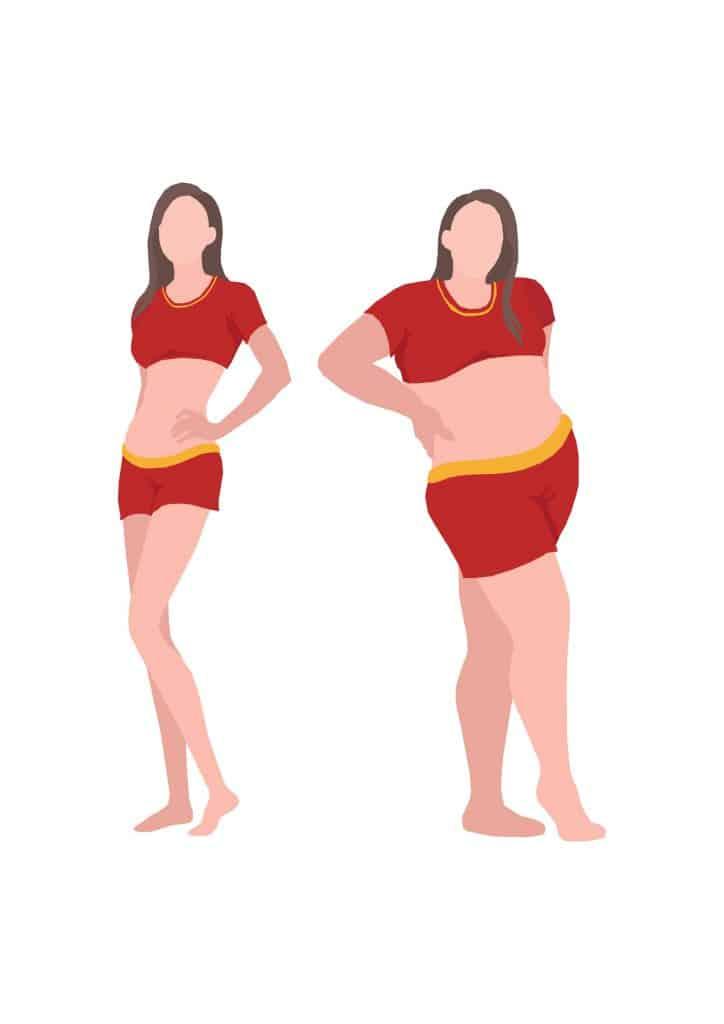mujer delgada y gorda