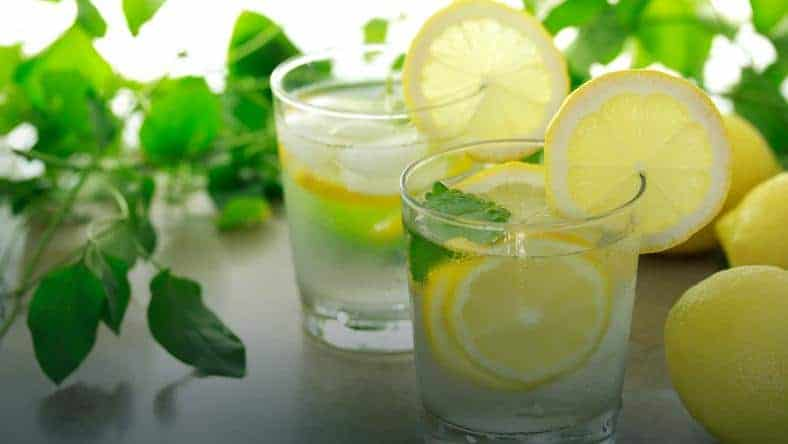 Água com limão e menta