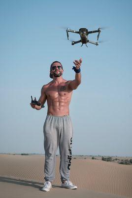 man flies a drone