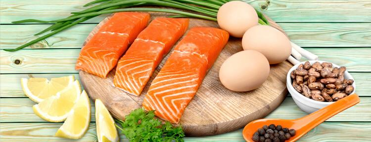 salmon eggs and vegetables
