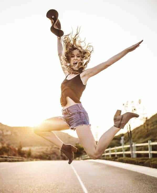 woman jumps