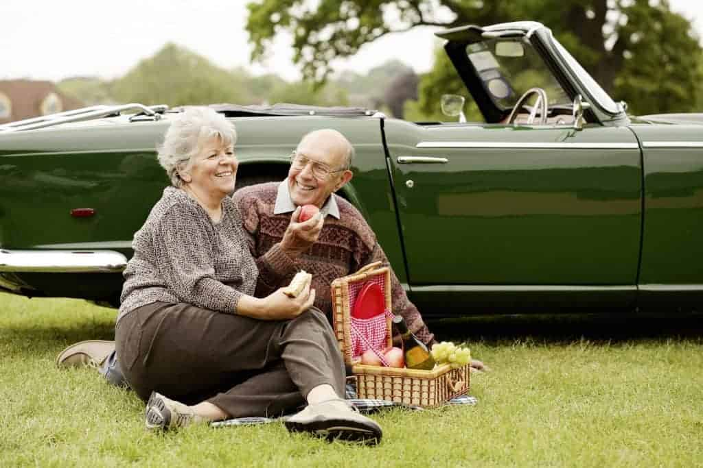 elderly couple at a picnic