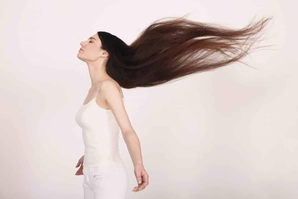 woman with long flowing hair