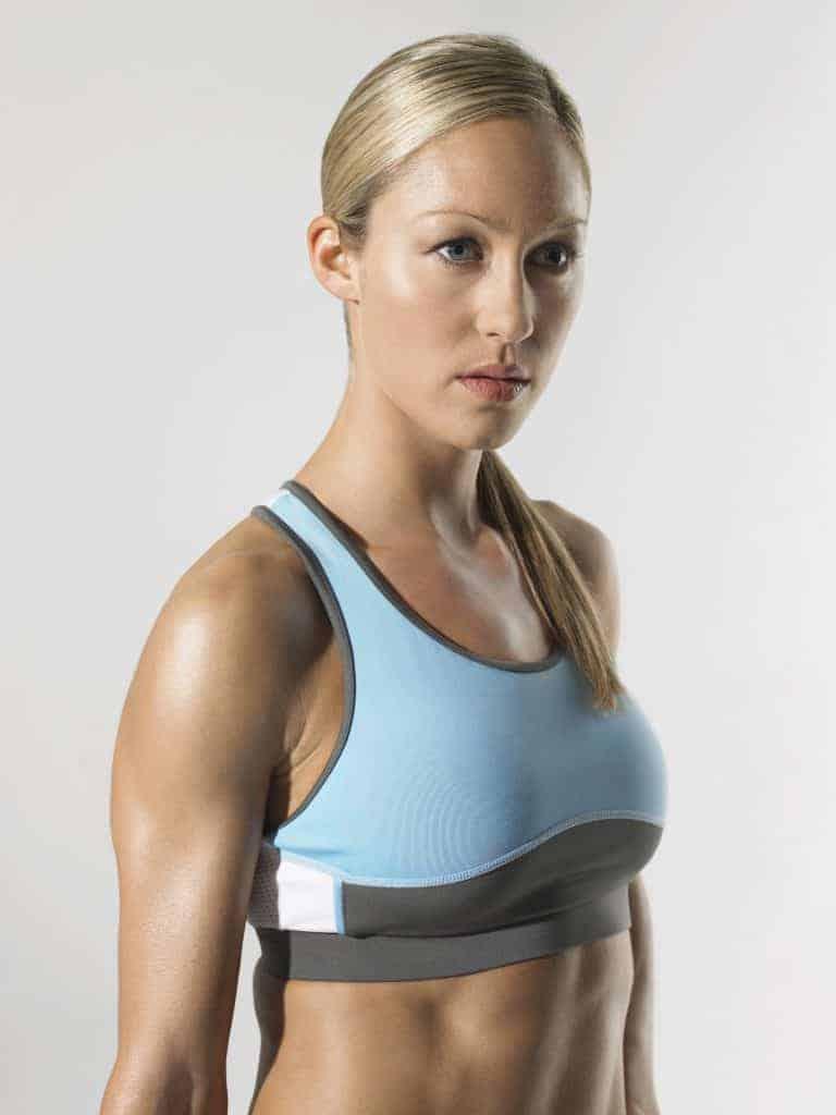 Sportswoman in a sports bra