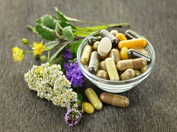 herbal tablets in a bowl