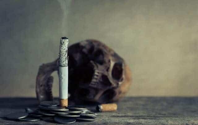 a burning cigarette