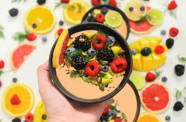 a healthy salad made of fruit and vegetables