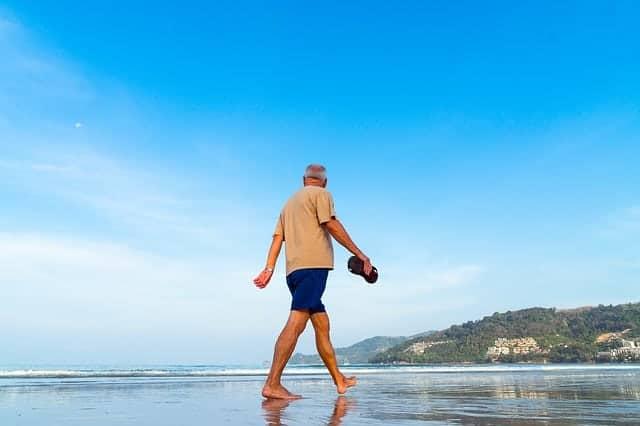 Walking along the seashore
