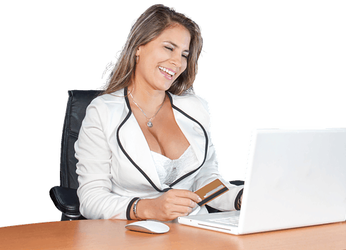 woman with big breasts at the computer